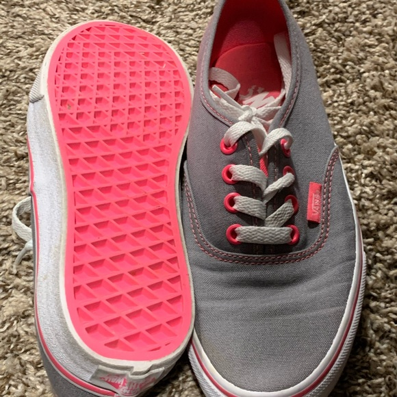 Women's, Size 6 grey and neon pink vans shoes